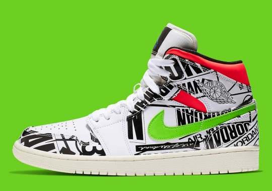 pretty nice d7a9f 86612 Air Jordan 1 Mid Appears With All-Over-Print Logos