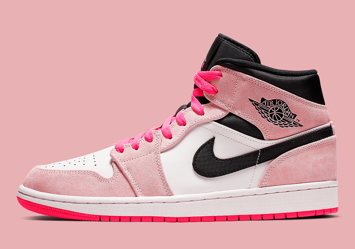 6074c6292e6 Air Jordan 1 Mid Dressed In Flashy Pink Hues