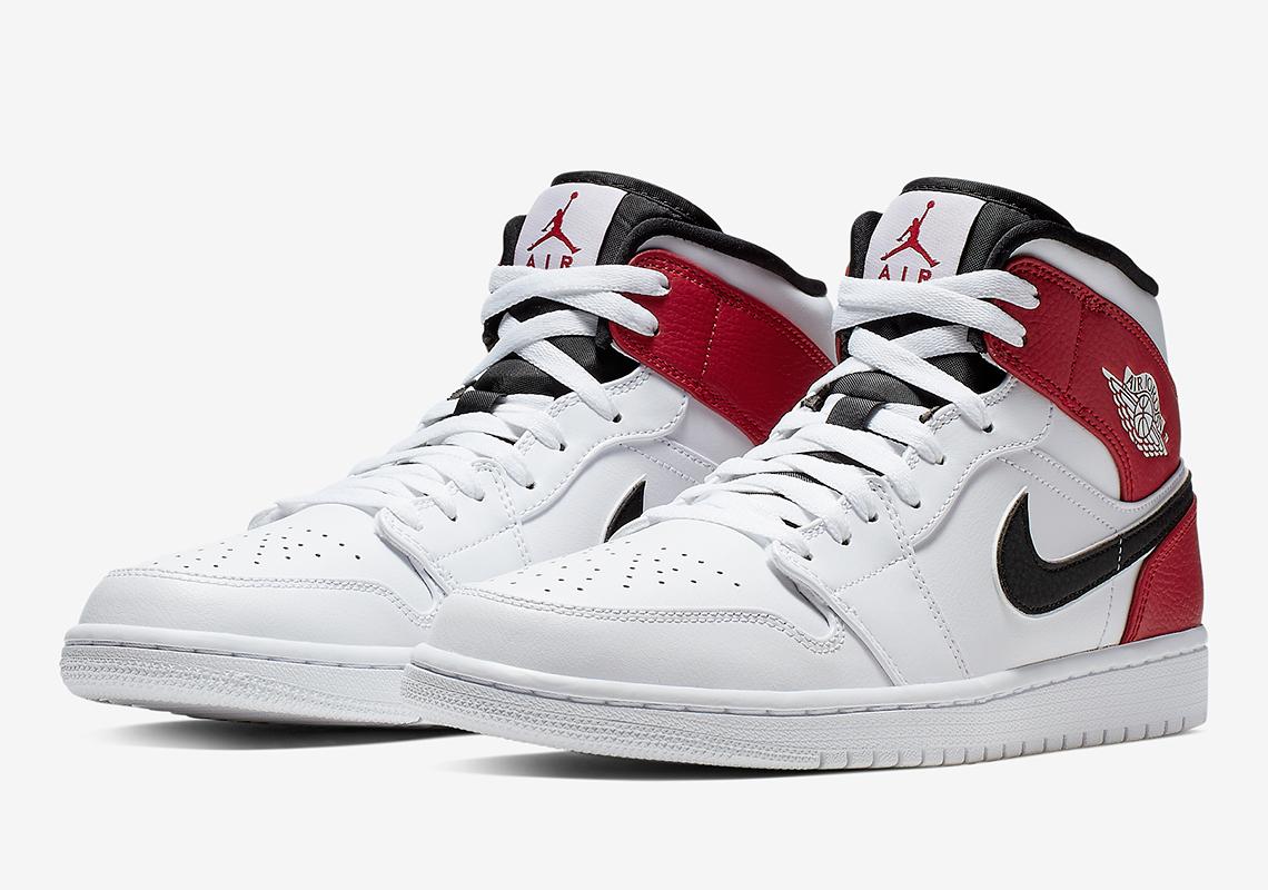 new style 2064e f2585 Jordan 1 Mid White Red Black 554724-116 Info | SneakerNews.com