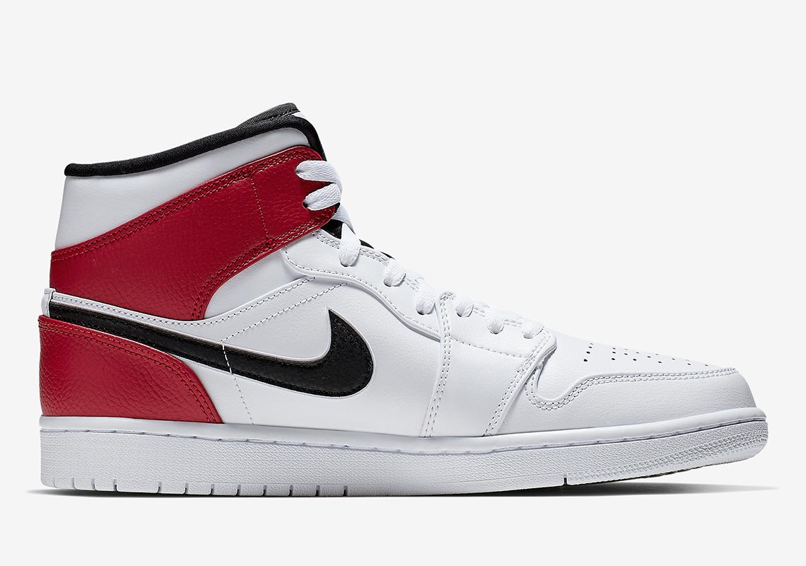 new product 4fe23 370bc Jordan 1 Mid White Red Black 554724-116 Info   SneakerNews.com