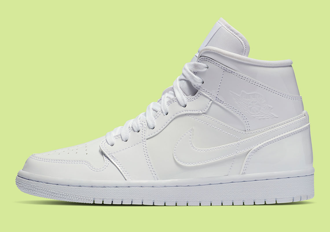 "brand new 6acd4 9a2d4 Air Jordan 1 Mid ""White Patent""  120. Style Code  BQ6472-111"