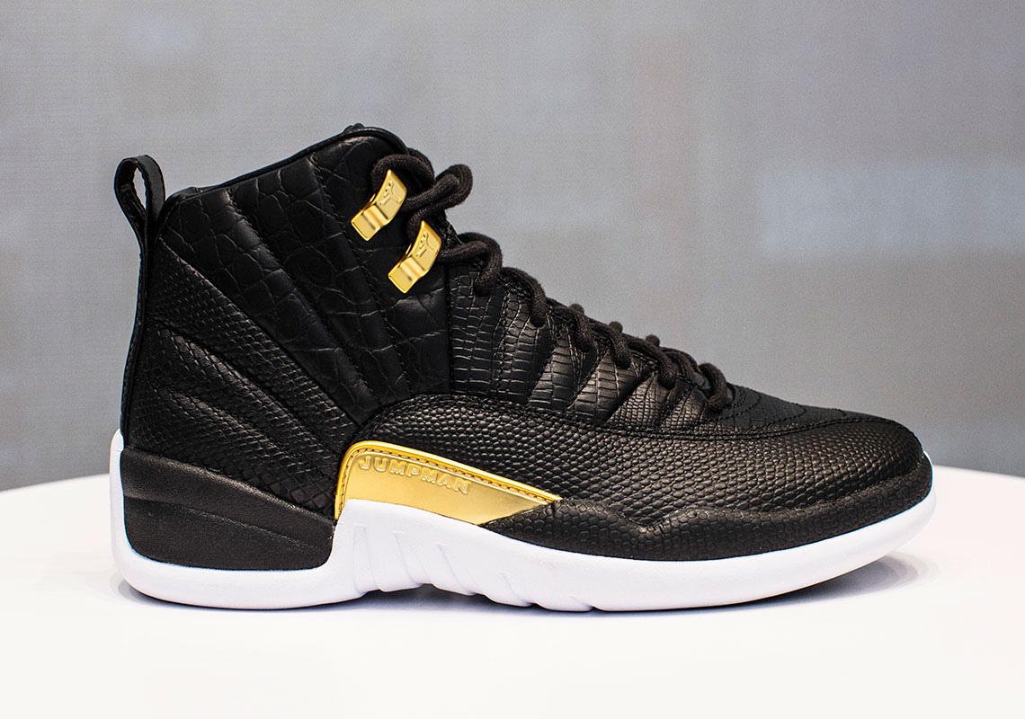the best attitude ee851 9962d Jordan 12 Women's Reptile Black White Gold AO6068-007 Info ...