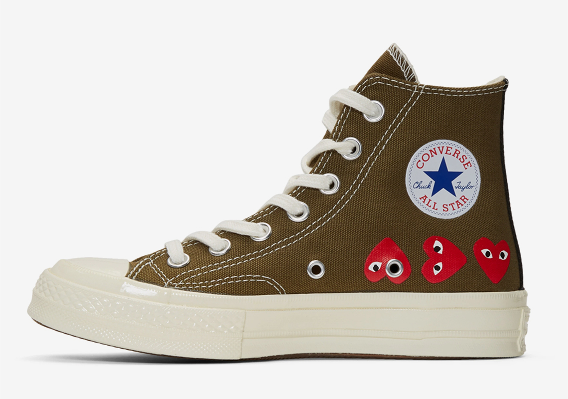 c2cd45a0db4a Comme Des Garcons Converse Chuck 70 Khaki Multiple Hearts ...