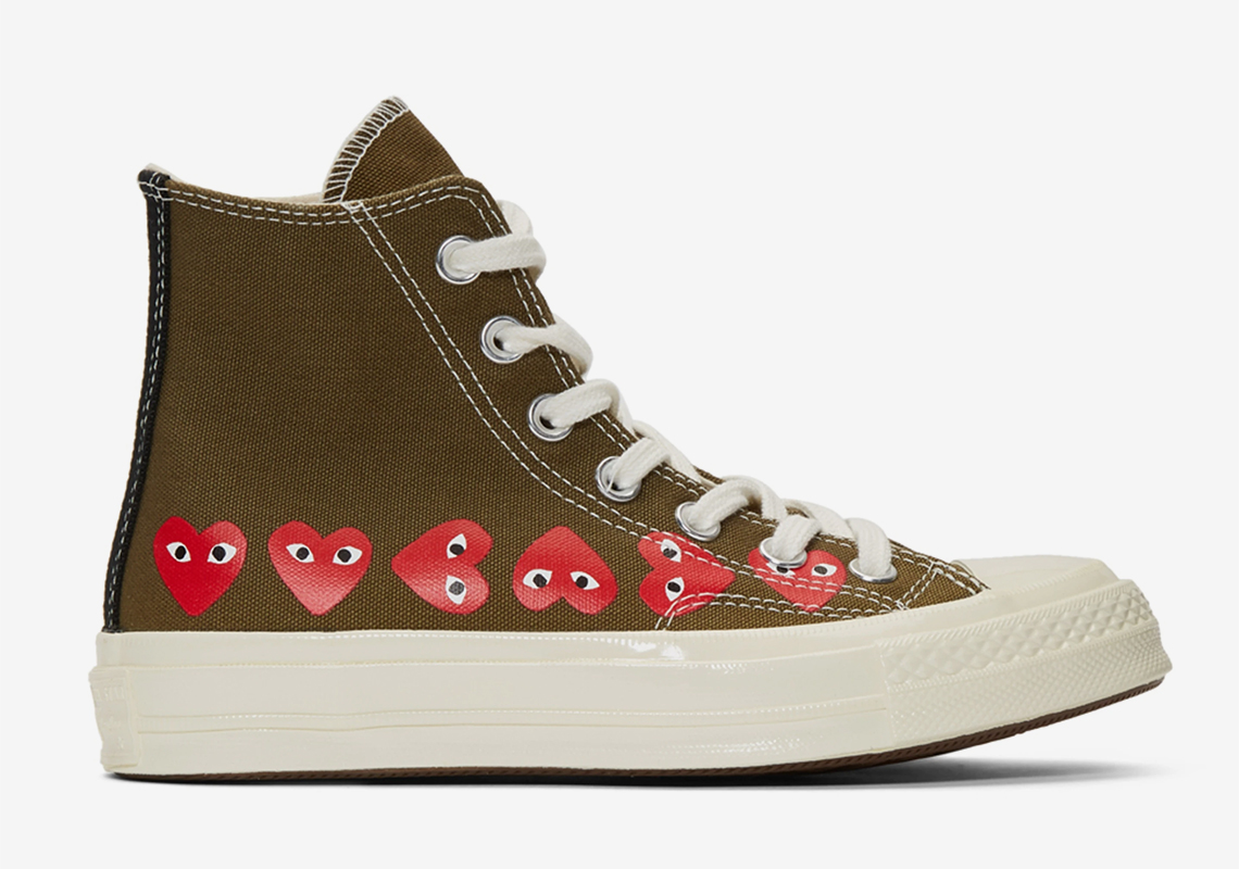 cb1f60acd89a COMME des GARÇONS and Converse Drop A Khaki Chuck 70 Hi With Multiple Hearts