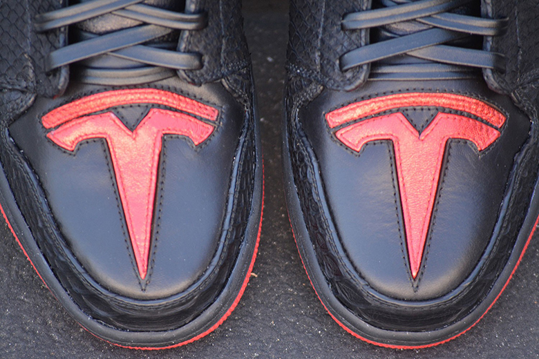 sports shoes ef0b5 2b4e0 Elon Musk Air Jordan 1 Tesla Custom Shoes   SneakerNews.com