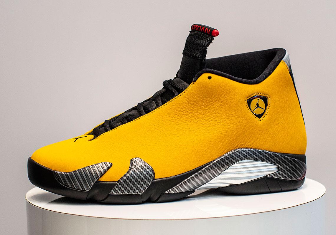 Jordan 14 Ferrari Yellow Bq3685 706 Release Date Sneakernews Com