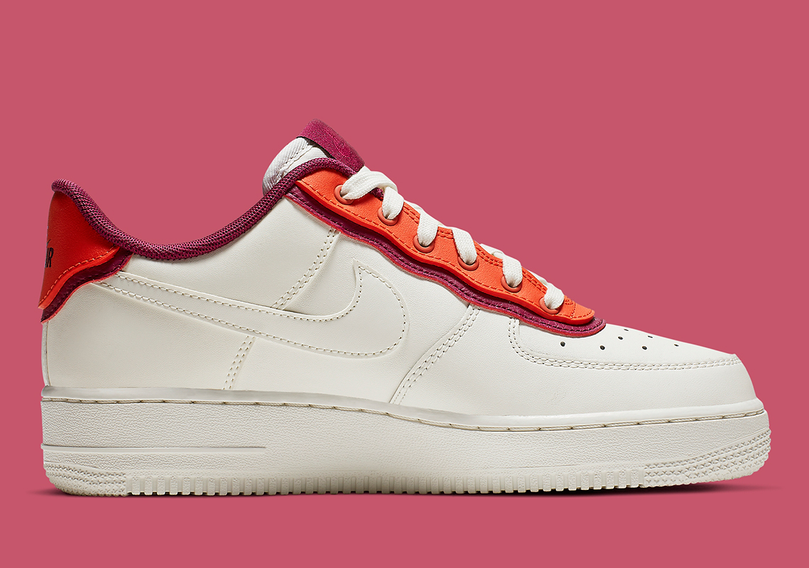 Double Layers Nike Air Force 1 '07 SE White Crimson Burgundy