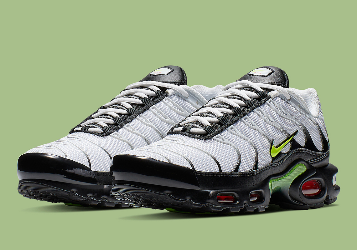 best sneakers fa1f1 93a81 Nike s Air Max Plus Is Releasing With Bold Volt And Red Accents