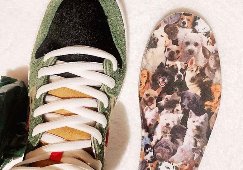"reputable site b3a54 9bdee The Upcoming Nike SB Dunk High ""Dog Walker"" Has All-Over Print Dog Insoles"