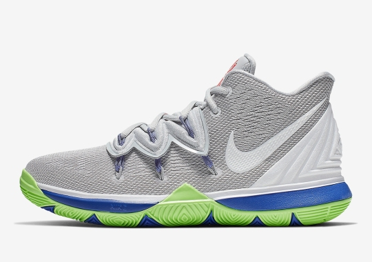 This Boys Exclusive Nike Kyrie 5 features Grey, Lime, And Blue Hits