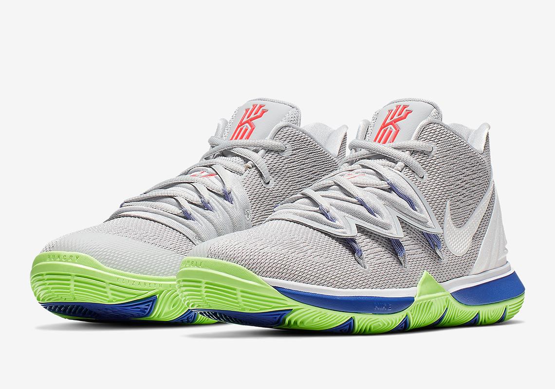 e73484c18d19 Nike Kyrie 5 Boys Grey Blue Lime AQ2456-099