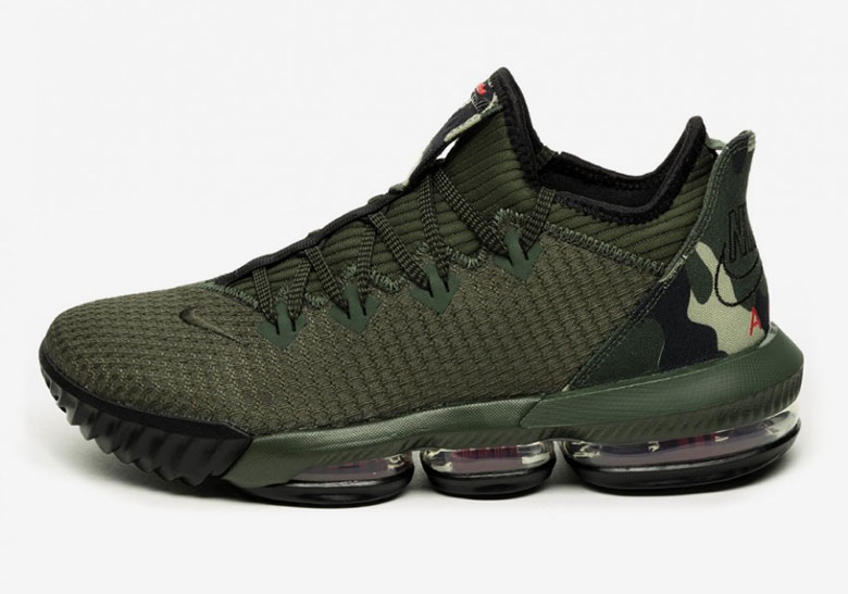 "timeless design ced62 aaadb Nike LeBron 16 Low ""Camo"" Features Classic Nike Air Logo"