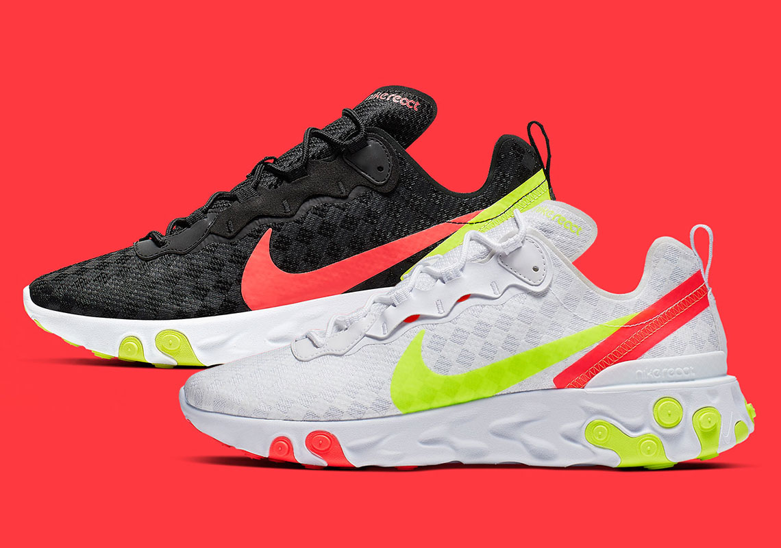 san francisco fd885 7953b The Nike React Element 55 Adds Volt Accents and Tiled Uppers