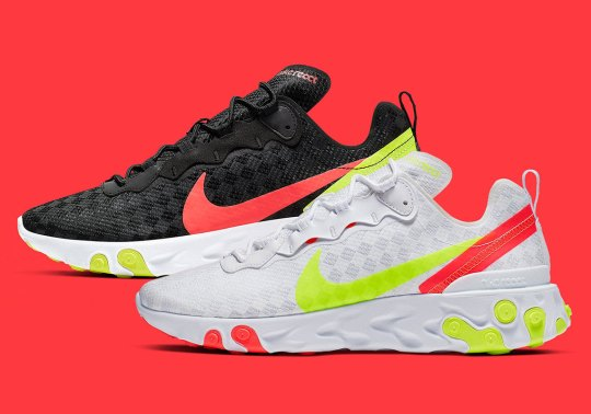The Nike React Element 55 Adds Volt Accents and Tiled Uppers