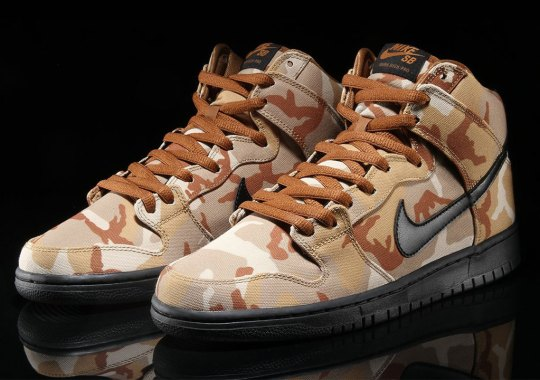The Nike SB Dunk High Appears In A Brown Desert Camo