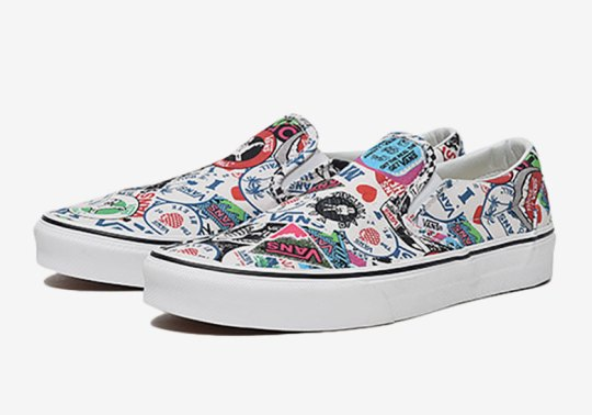 The History Of Vans Logos Appear On This All Over Print Slip-On