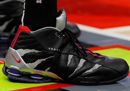 """Vince Carter Wears A Nike Shox BB4 """"Raptors"""" PE"""