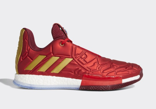 "Detailed Look At The Marvel Avengers x adidas Harden Vol. 3 ""Iron Man"""
