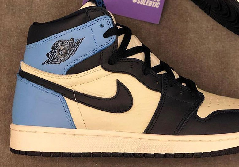 """061b441b9 Air Jordan 1 """"UNC"""" Dropping In Leather Obsidian and University Blue are  back again without the patent leather."""