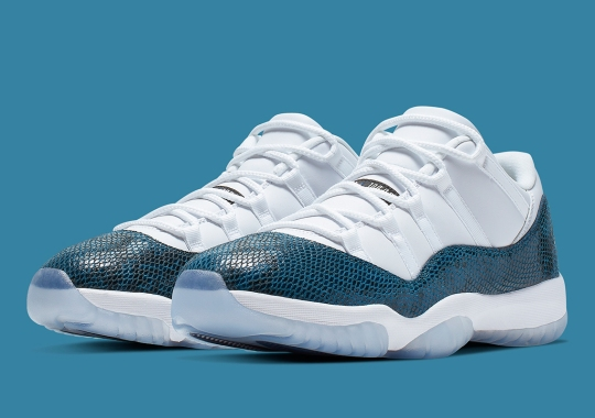 """low priced 8d821 ad528 Official Images Of The Air Jordan 11 Low """"Snakeskin"""" In Navy"""