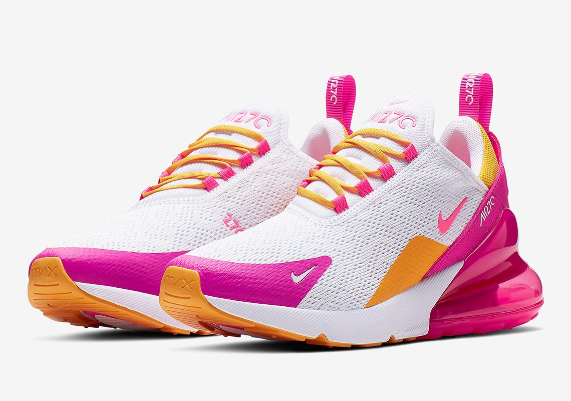 sports shoes 9bd4f 50405 Nike Air Max 270 Women's White Fuchsia Gold CI1963-166 ...