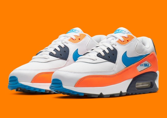 dc5821a793e5 The Nike Air Max 90 Releases In A Vintage Friendly Blue And Orange