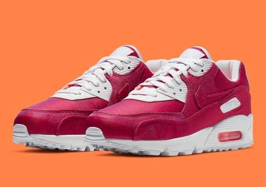 "on sale 92178 79d98 The Nike Air Max 90 ""Hyper Crimson"" Adds A Glistening Fabric Upper"