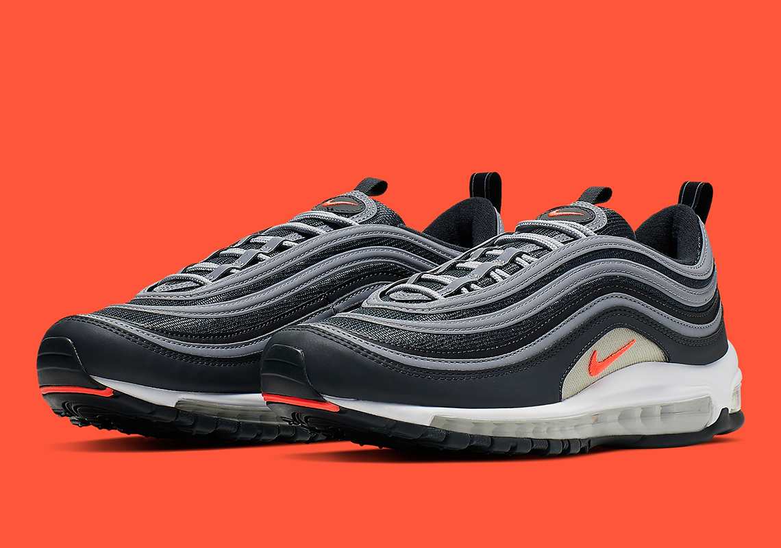 new product 0cf68 794c8 Nike Air Max 97  160. Color  Anthracite Wolf Grey-White-Flash Crimson