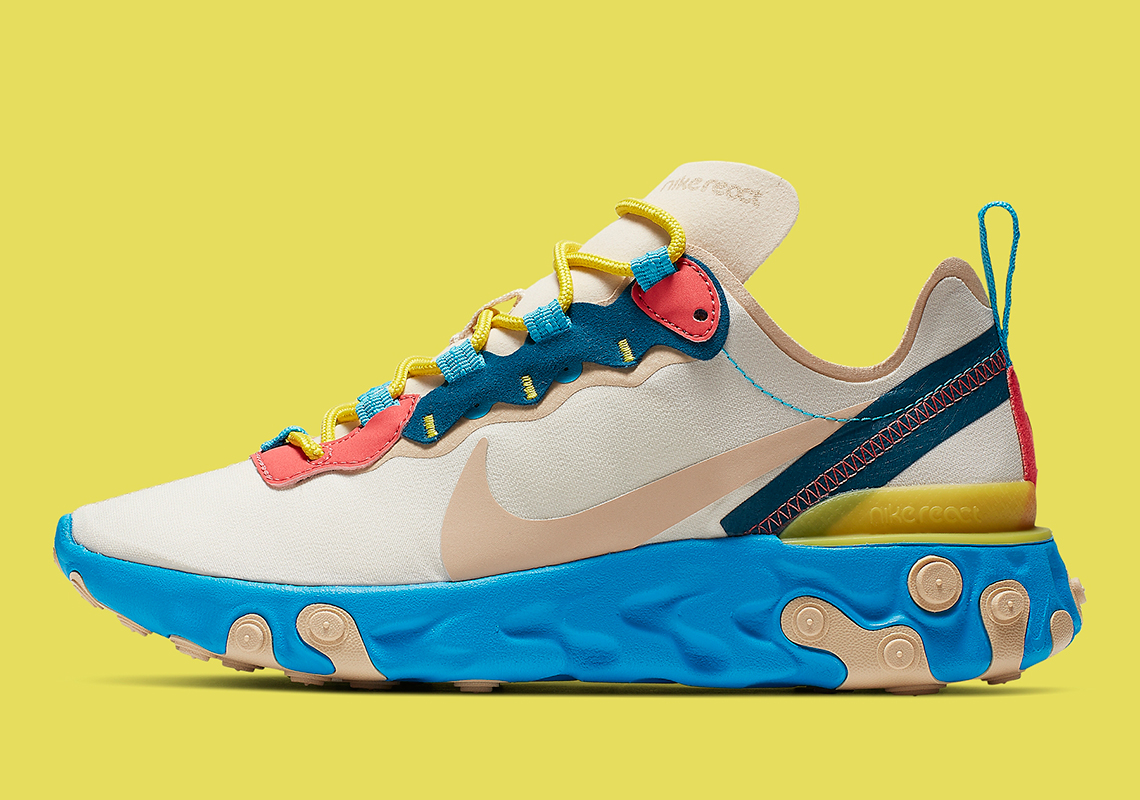 new style d9128 5a099 The Nike React Element 55 Tacks On Blue Soles