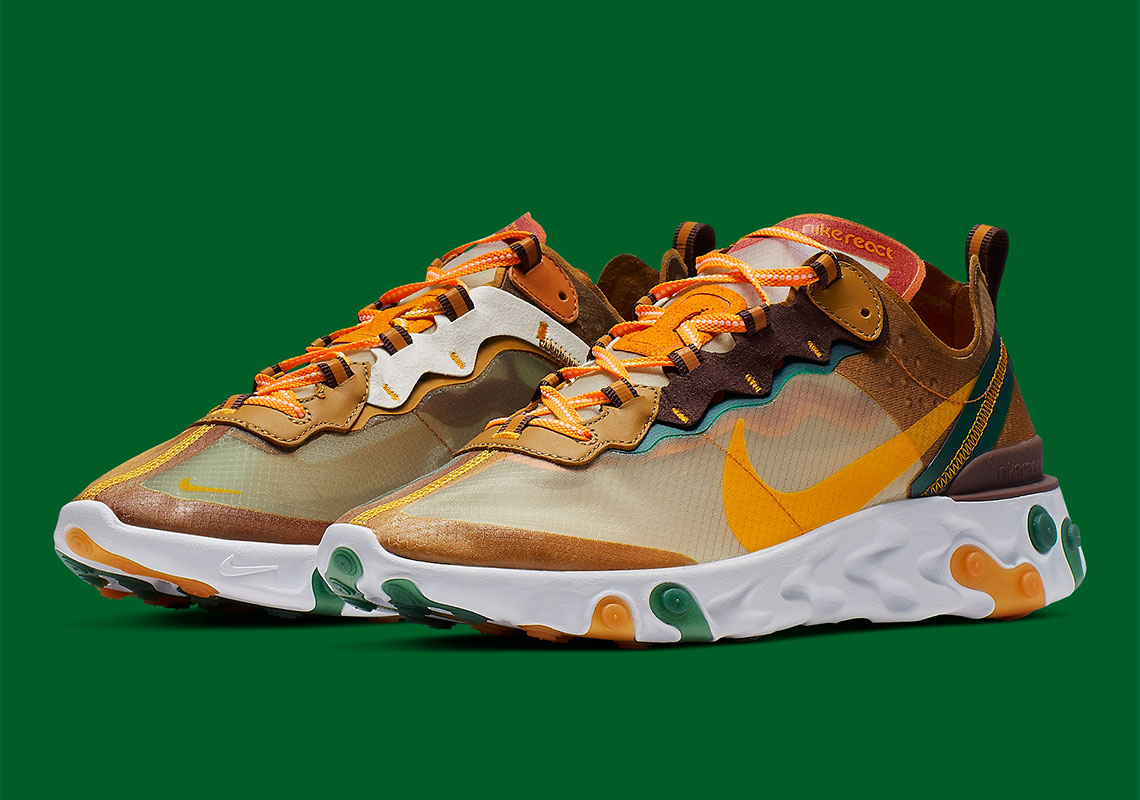arrives no sale tax later Nike React Element 87 Pale Ivory Orange Peel CJ6897-113 ...