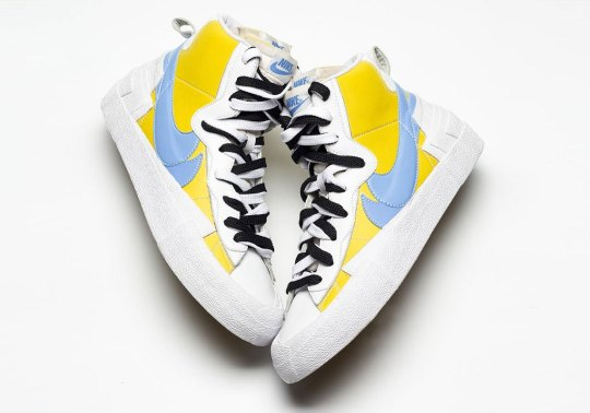 Detailed Look At The sacai x Nike Blazer In Blue And Yellow