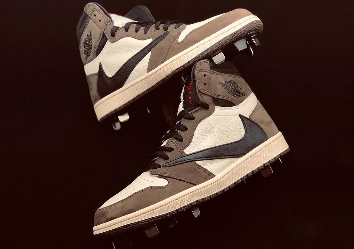 c5f402442bee78 Travis Scott Air Jordan 1 Baseball Cleats by Clint Frazier ...