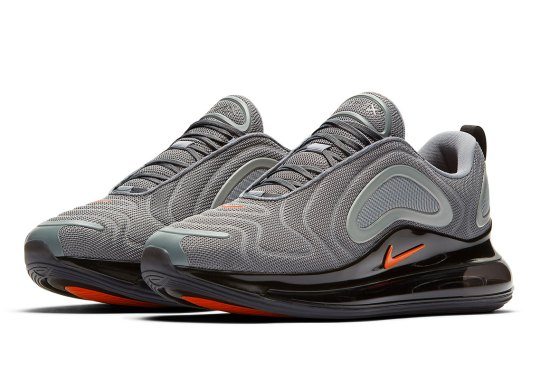 """Nike Air Max 720 """"Cool Grey"""" Adds Orange Accents"""
