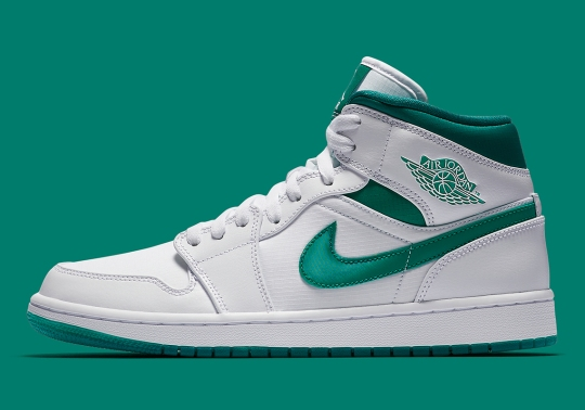 The Air Jordan 1 Mid Returns In White and Mystic Green