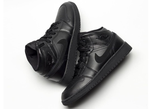 "Air Jordan 1 Mid Appears In ""Deep Black"""