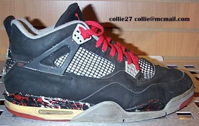 """295a077269e The Air Jordan 4 """"Bred"""" almost had a funky paint splatter. This original  sample from 1989 suggests that the black/red flagship colorway could have  had this ..."""