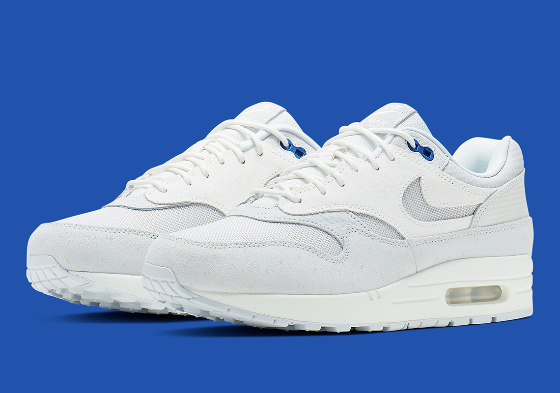 10897fdadfc98 Nike Air Max 1 Premium In Pure Platinum And Racer Blue Is Available Now