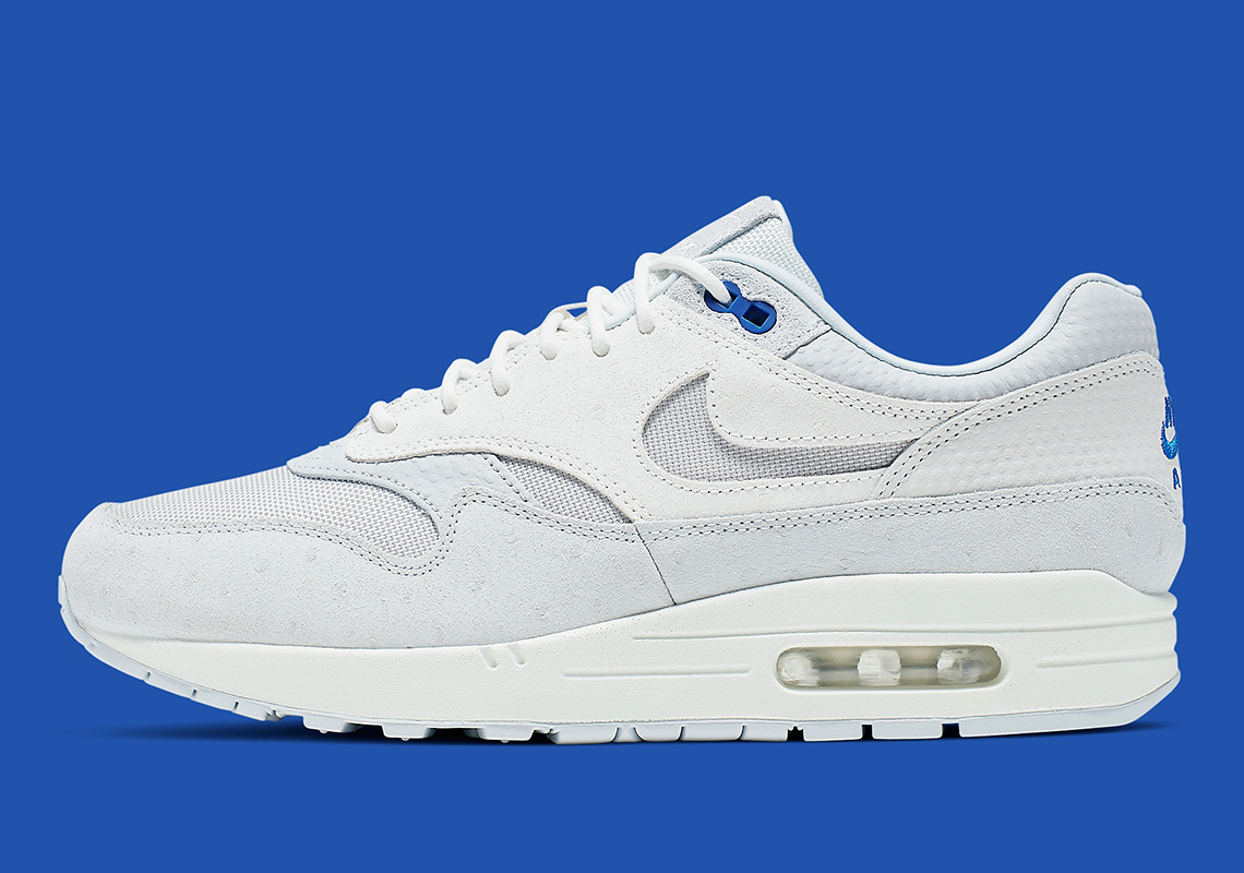 6d155df875 Nike Air Max 1 Premium In Pure Platinum And Racer Blue Is Available Now