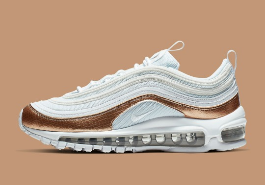The Nike Air Max 97 GS Appears In Textured Bronze Uppers