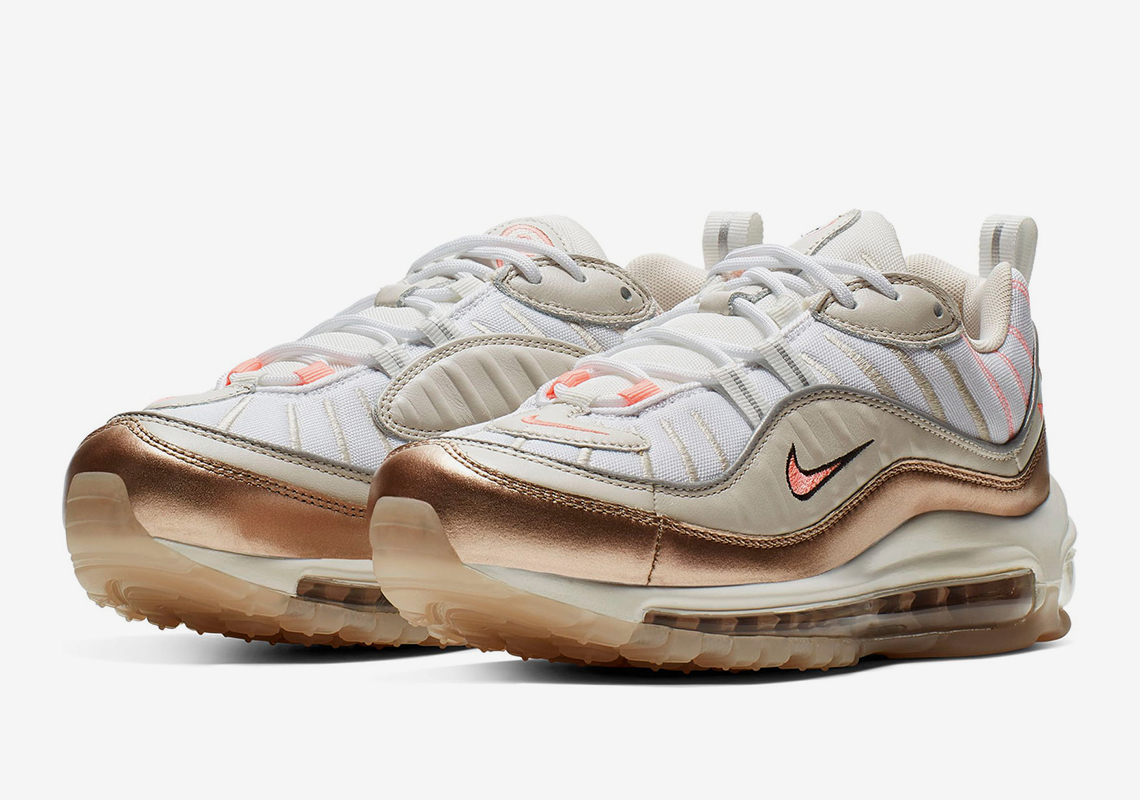 purchase cheap ff773 c03b5 The Nike Air Max 98 Adds Metallic Orewood Brown With Pink Accents
