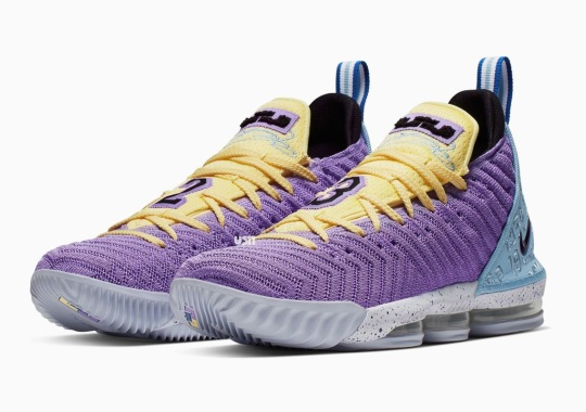 "buy online d2538 69281 Upcoming Nike LeBron 16 ""Lakers"" Honors The Franchise s 16 Championships"