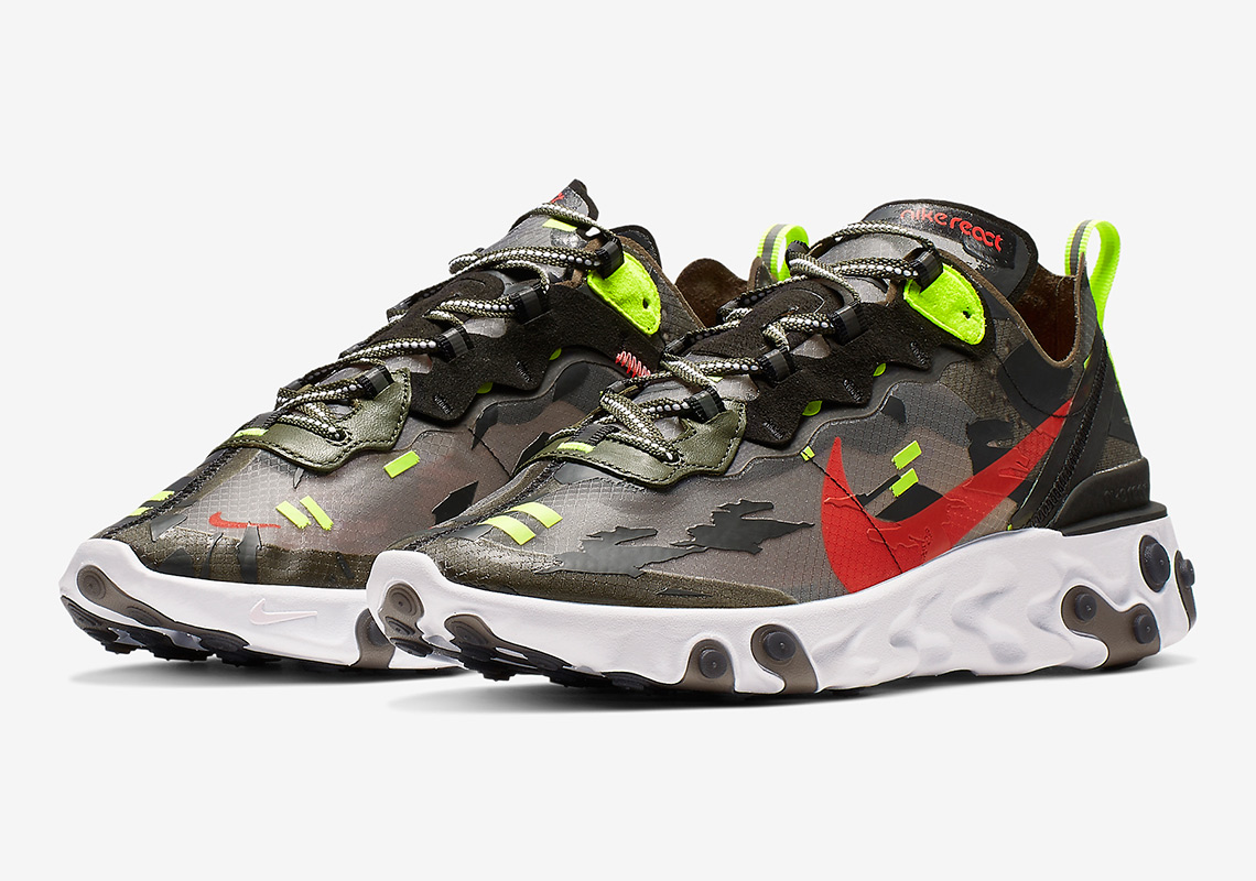 finest selection 01280 91e41 Nike Adds Camo-Style Overlays To The Nike React Element 87