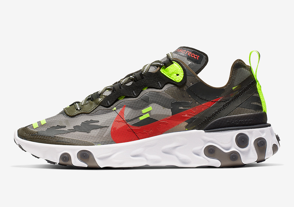purchase cheap 8d780 e65b4 Nike React Element 87 Medium Olive Volt Crimson CJ4988-200 ...