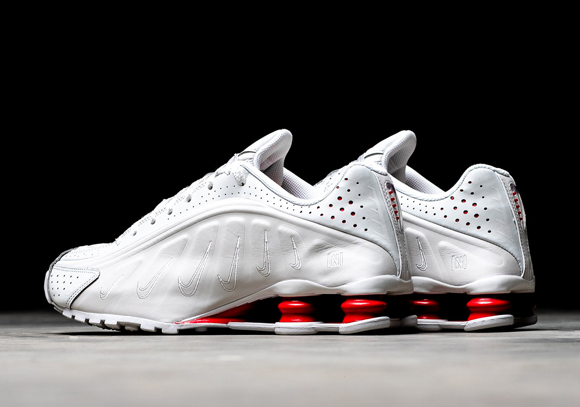 eaf37f3fd Neymar Jr x Nike Shox R4 Release Date: May 30th, 2019 $150. Color: Platinum  Tint/Challenge Red/White/Platinum Tint