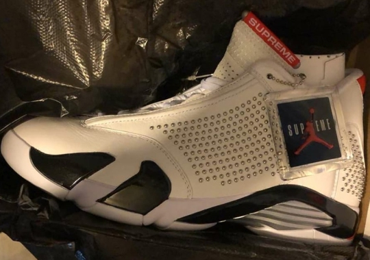 aeee01eade02ac First Look At The Supreme x Air Jordan 14