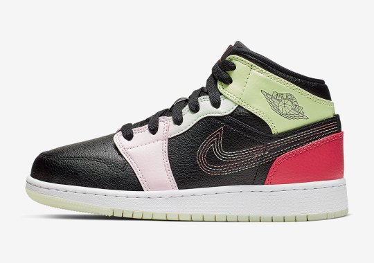 Detailed Look At The Air Jordan 1 Mid GS With Multi-Stitched Swooshes