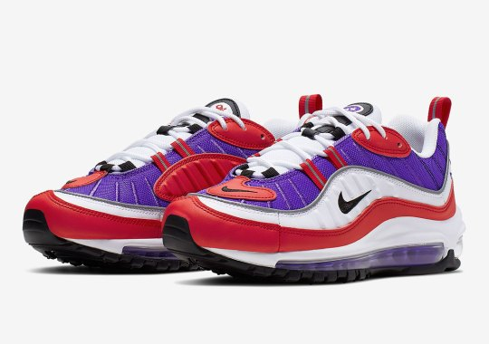 The Nike Air Max 98 Pairs Psychic Purple And University Red