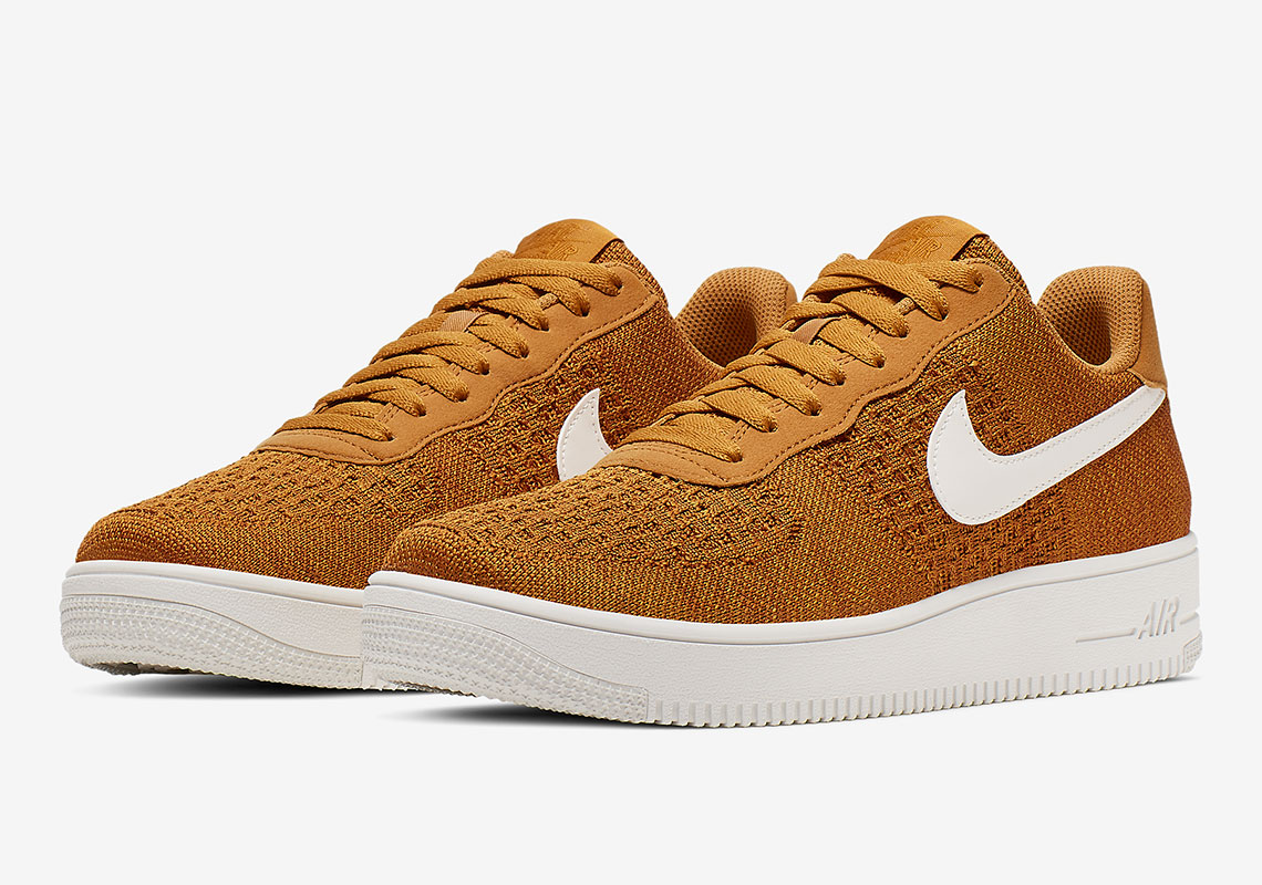 Golden Flyknit Adorns The Nike Air Force 1