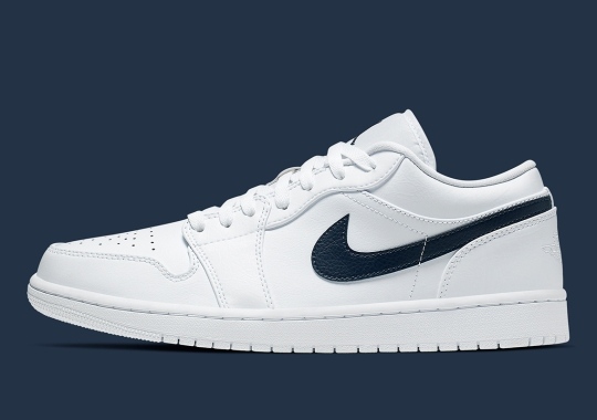 The Air Jordan 1 Low Arrives In A Crisp White And Navy
