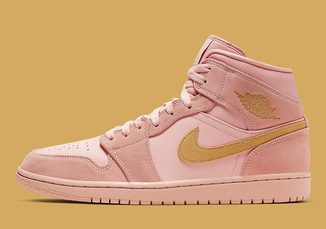 reputable site 3fad7 bfed9 Air Jordan 1 Mid SE Arrives In Coral Suede And Gold